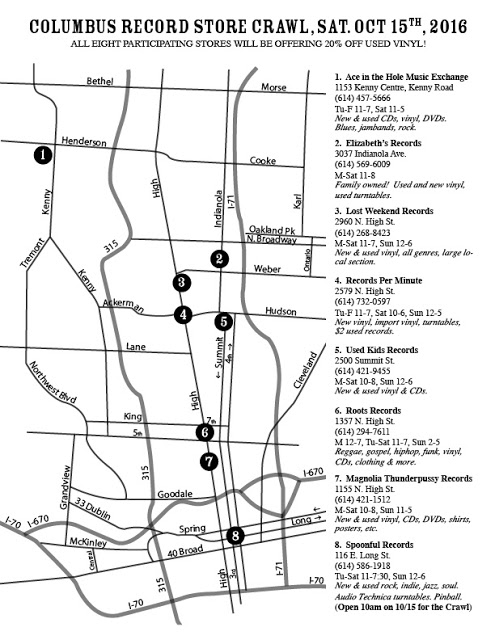 Columbus Ohio Record Store Map
